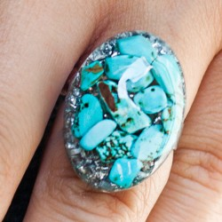 Orgonite, crystal, energy jewelry, ring, Turquoise orgone ring