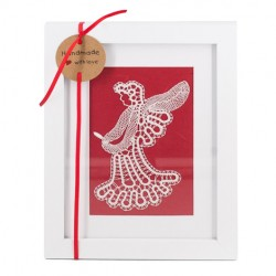 LACE PICTURE ANGEL, handmade lace picture, lace angel