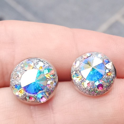 EARRINGS WITH SWAROVSKI CRYSTALS, mini earrings, crystal earrings, round earrings