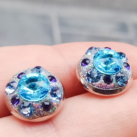 EARRINGS WITH SWAROVSKI CRYSTALS, mini earrings, crystal earrings, round earrings