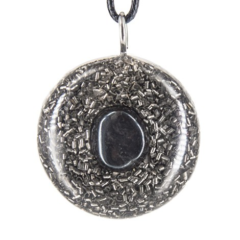Orgonite, crystal, hematite, energy, emissions protection, pendant