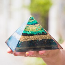 ORGONITE CHRYSOCOLLA pyramid, orgone pyramid, protection from emissions