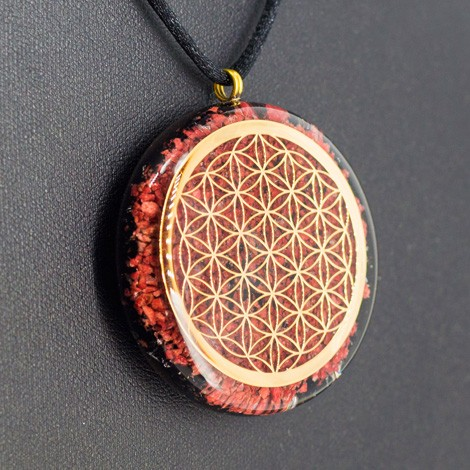 crystals, orgonite, necklace, jewelry, energy jewelry, protection, ORGONITE NECKLACE THULITE and BLACK TOURMALINE flower of life