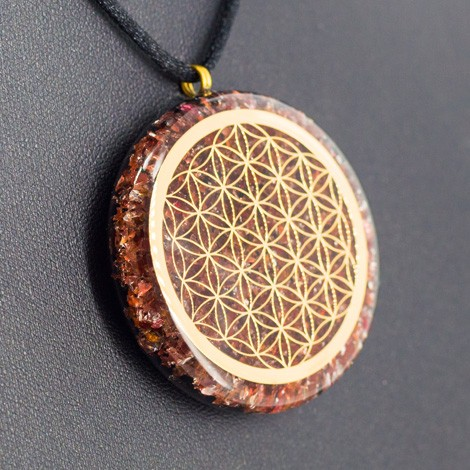 crystals, orgonite, necklace, jewelry, energy jewelry, protection, ORGONITE NECKLACE GARNET and BLACK TOURMALINE flower of life
