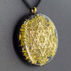 crystals, orgonite, necklace, jewelry, energy jewelry, protection, ORGONITE NECKLACE epidote and BLACK TOURMALINE flower of life