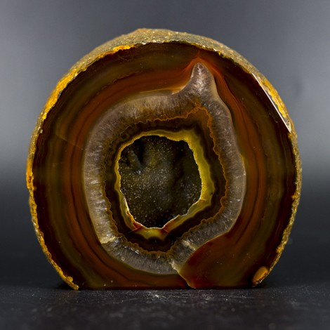 agate geode polished brown