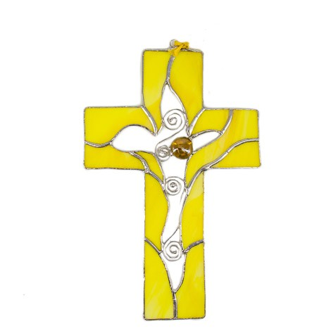 STAINED GLASS CROSS yellow