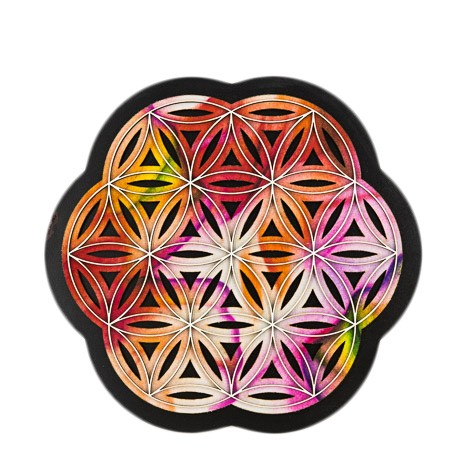 3D PICTURE FLOWER OF LIFE orange red