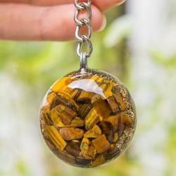 orgonit obesek za ključe s kristali, tigrovo oko, trgovina s kristali.