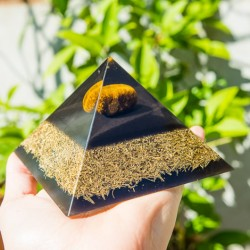 ORGONITE TIGER EYE TOURMALINE pyramid, orgone energy