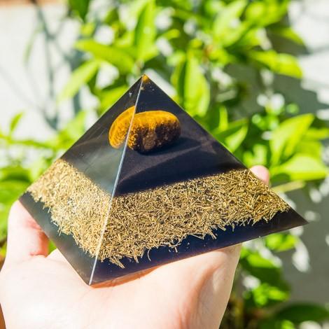 ORGONITE TIGER EYE TOURMALINE pyramid, orgone energy
