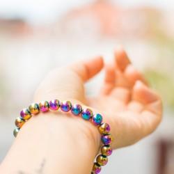good for grounding, RAINBOW HEMATITE bracelet, energy jewelry