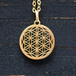 FLOWER OF LIFE pendant, gold plated sterling silver necklace