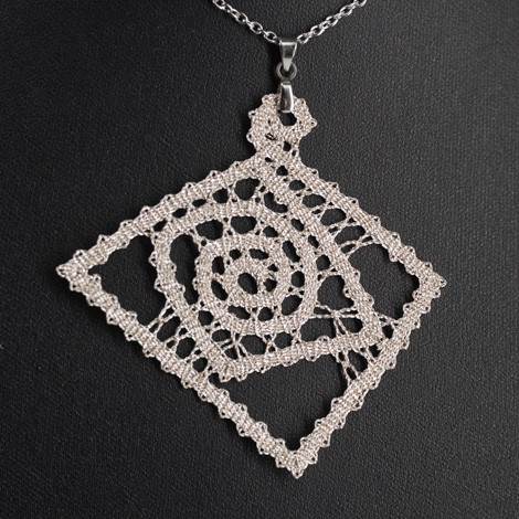 ročno izdelana ogrlica, vzorec za nakit iz klekljane čipke