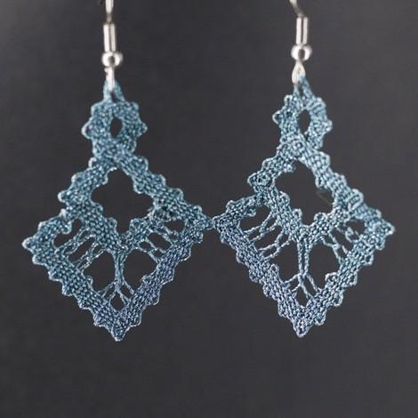 ročno izdelani uhani, vzorec za nakit iz klekljane čipke