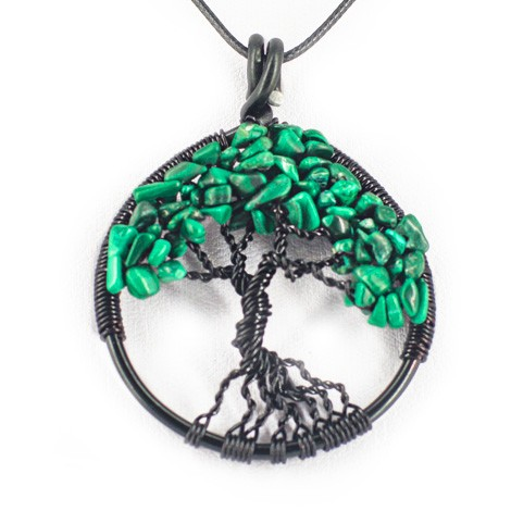 NECKLACE TREE OF LIFE Malachite, malachite necklace, malachite pendant, tree of life pendant, helps with the fear of flying