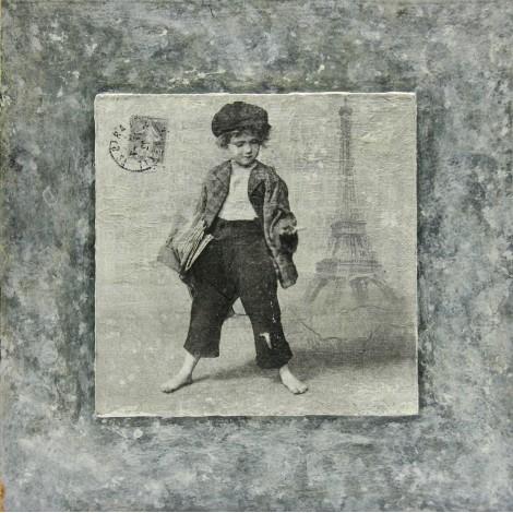 slika v okvirju deček v parizu  decoupage