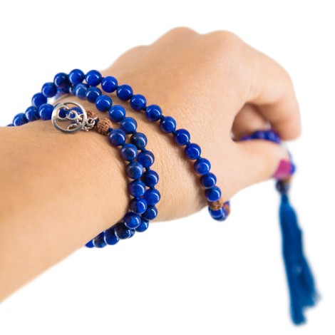 PRAYER BEADS sodalite, meditation beads, rudraksha seads