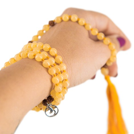 PRAYER BEADS yellow calcite, meditation beads, rudraksha seads