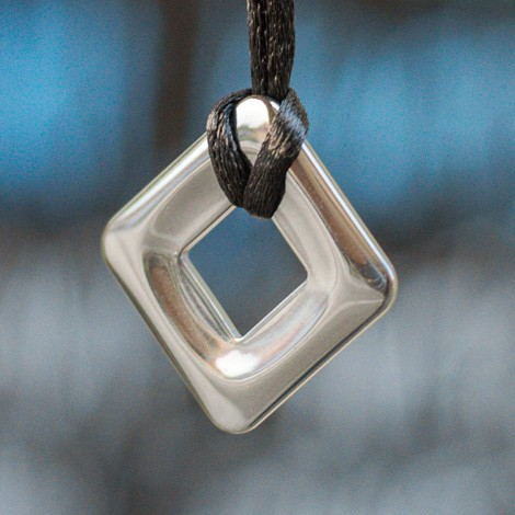 HEMATITE rhombus pendant,  square pendant, hematite protection, energy jewelry