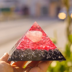ORGONITE PYRAMID rose quartz and shungite