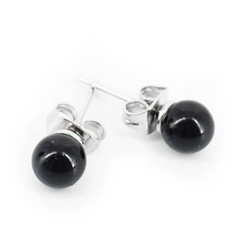 mini earrings with semi-precious stones, onyx