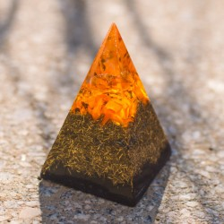 CITRINE and SHUNGITE orgonite pyramid