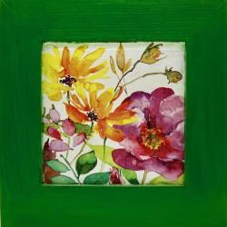 cvetje slika v okvirju rože lesen okvir decoupage