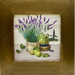 kuhinjska slika v okvirju sivka lesen okvir tihožitje
