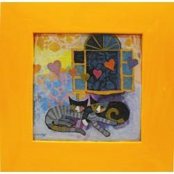 slika v okvirju ljubezen je v zraku decoupage Reprodukcija Rosina Wachtmeister lesen okvir mačka