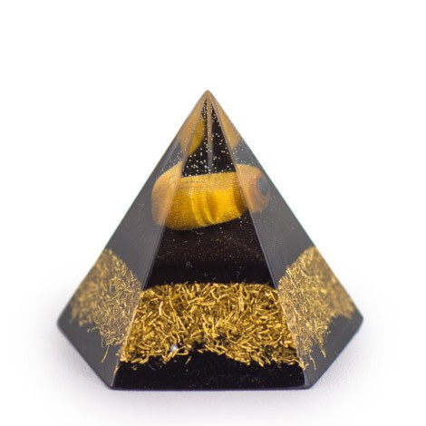 TIGER'S EYE and SHUNGITE Orgonite Pyramid Pentagram