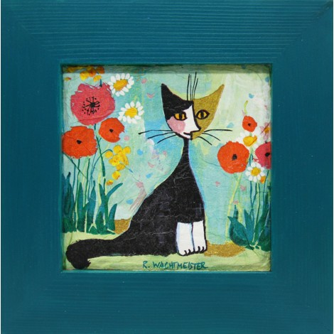 slika v okvirju muca na vrtu decoupage Reprodukcija Rosina Wachtmeister lesen okvir mačka