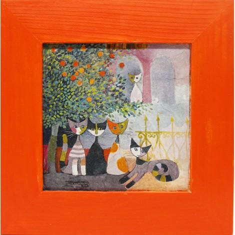 slika v okvirju mačji zbor decoupage Reprodukcija Rosina Wachtmeister lesen okvir mačka