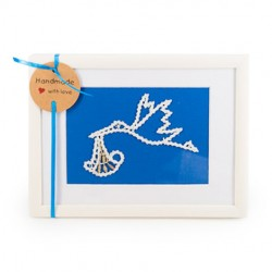 LACE PICTURE STORK on blue background