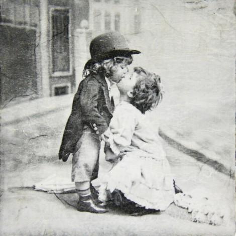 slika poljub vintage decoupage
