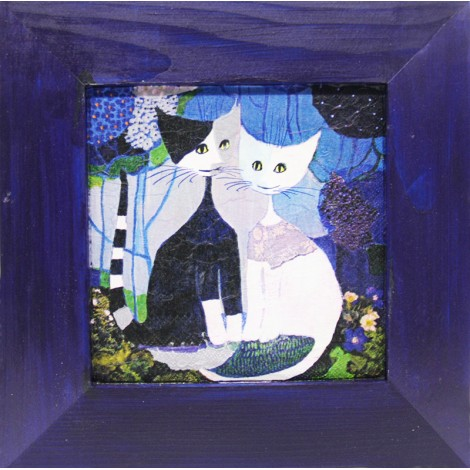 slika v okvirju mačji par decoupage Reprodukcija Rosina Wachtmeister lesen okvir mačka
