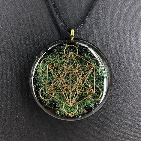AVENTURINE and BLACK TOURMALINE Orgonite necklace metatron