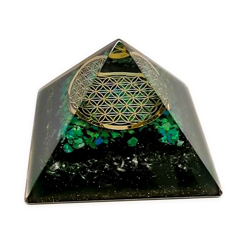 CHRYSOCOLLA orgonite pyramid flower of life