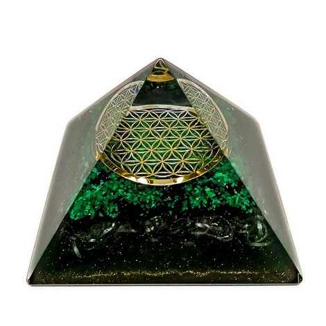 MALACHITE orgonite pyramid flower of life