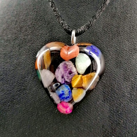 7 CHAKRAS Orgonite necklace heart