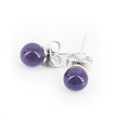 mini earrings with semi-precious stones, amethyst