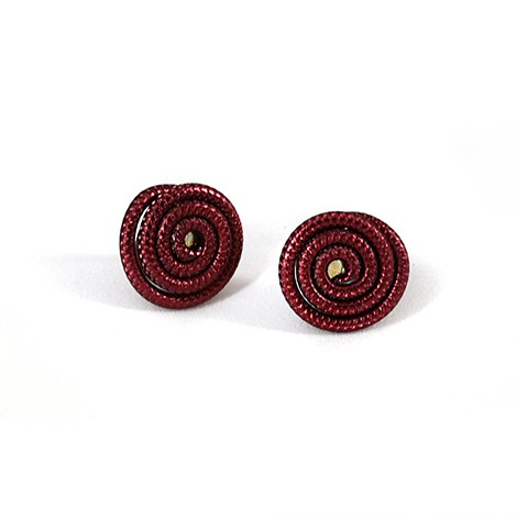 mini red earrings from aluminium