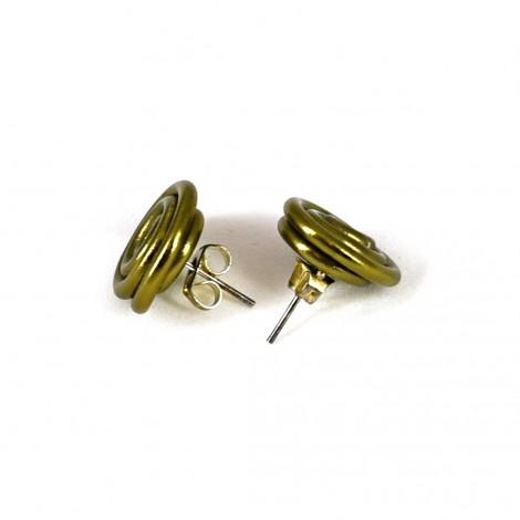 mini wire earrings, golden brown earrings