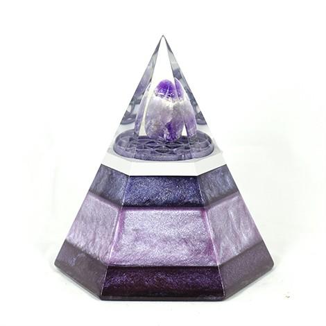amethyst orgonite hexagonal pyramide, crytsal shop, positive energy, orgonic energy