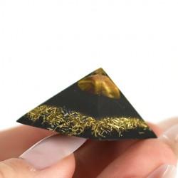 tigers eye and shungite orgonite pocket pyramid, crystal shop, hand made