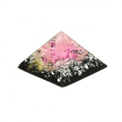 rose quartz and shungite orgonite pyramid, crystal shop, hand made pyramid