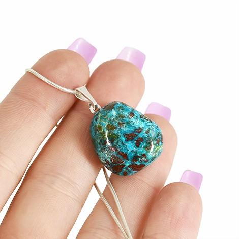 chrysocolla necklace pendant, energy necklace, crystal shop