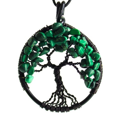 malahit drevo življenja ogrlica trgovina s kristali malahit kamen ugodna cena