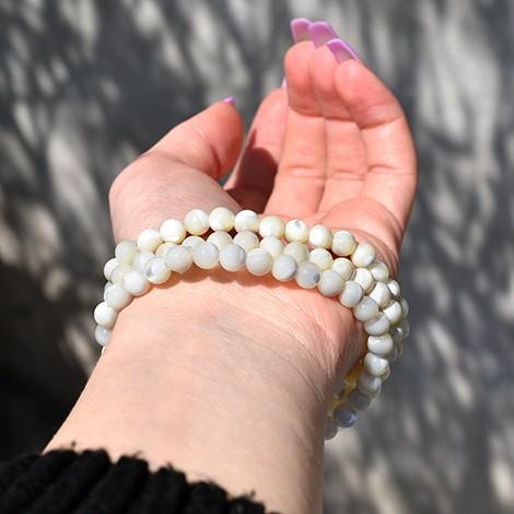 zapestnica biserovina 6mm, nakit s kristali, unikaten, ročno delan nakit
