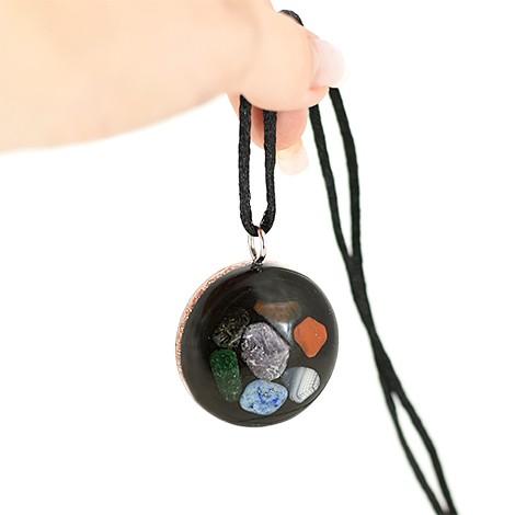 seven chakras, orgonite pendant